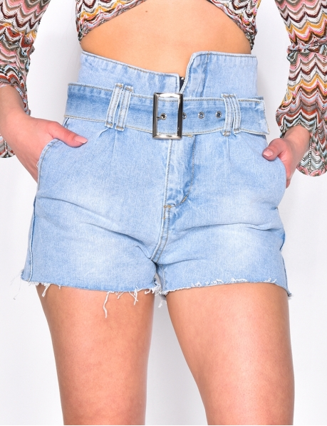 High Waisted Denim Shorts with Belt