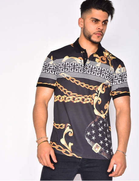 Polo Shirt with Chain Pattern
