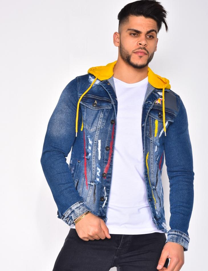 Veste en jeans tâches de peinture à capuche