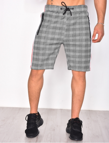 Checked Shorts with Stripes