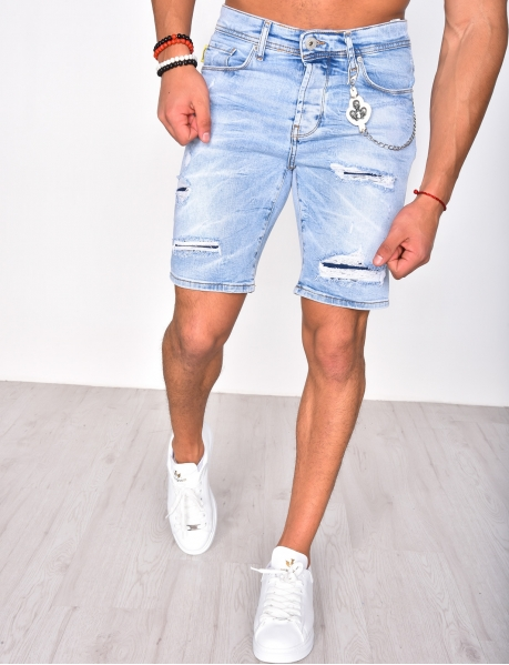Ripped Denim Shorts with Chain