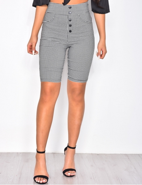 High Waisted Gingham Cyclist Shorts