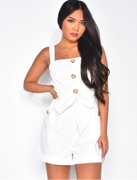 Tie Playsuit with Buttons