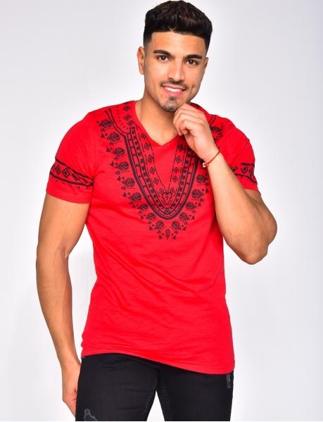 T-shirt à motifs ethniques