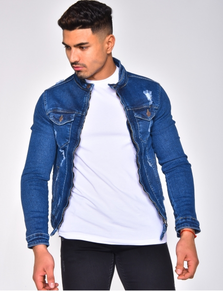 Ripped Fitted Denim Jacket with Zip
