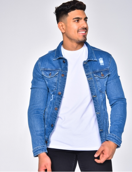 Ripped Fitted Denim Jacket