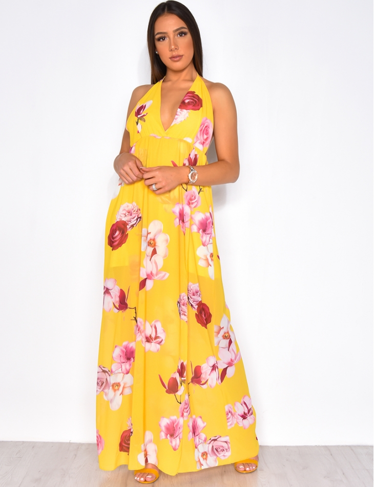Voile Open Back Dress with Flower Pattern