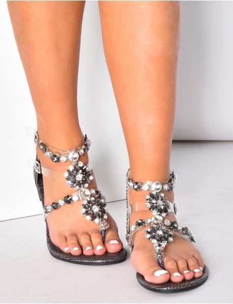 Sandales à motifs serpent et ornements