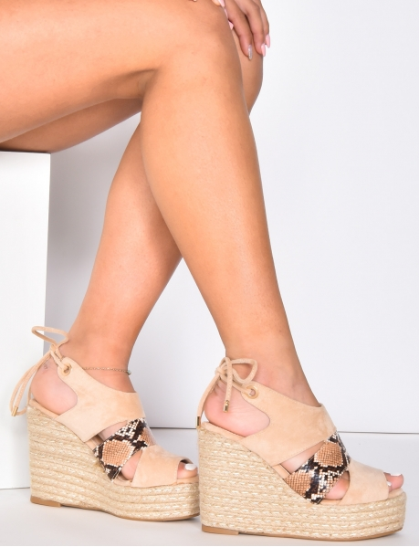 Heeled Suedette Espadrilles with Snakeskin Pattern