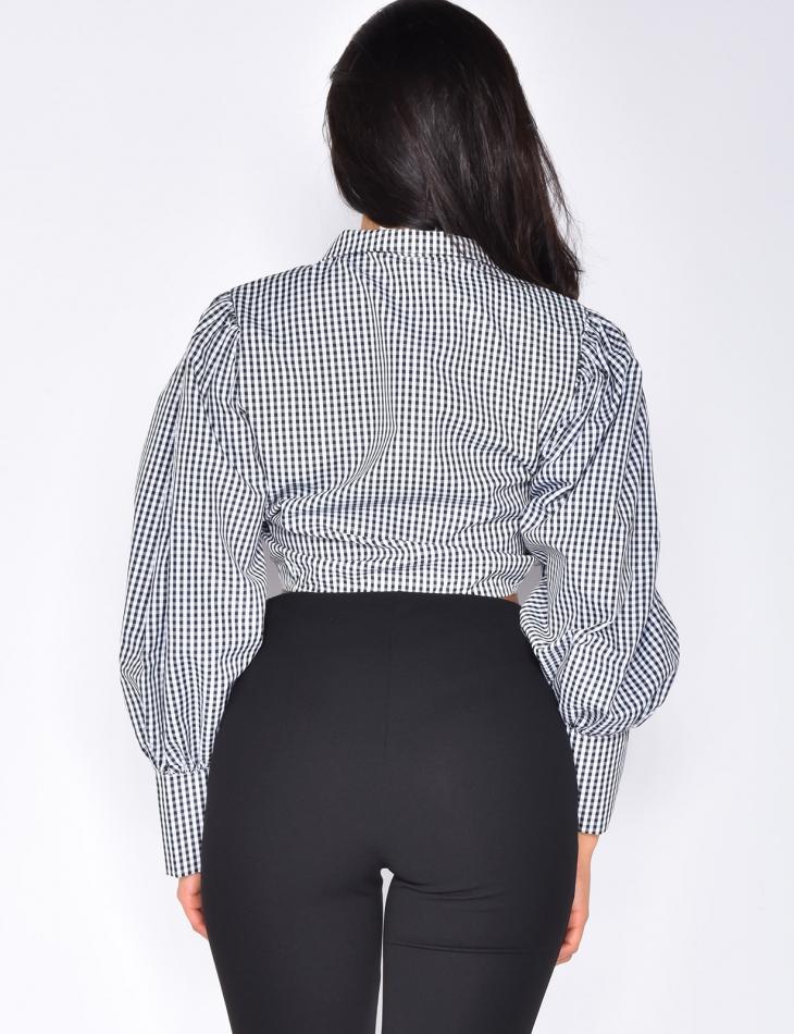 Crop-Top col chemise manches longues à nouer
