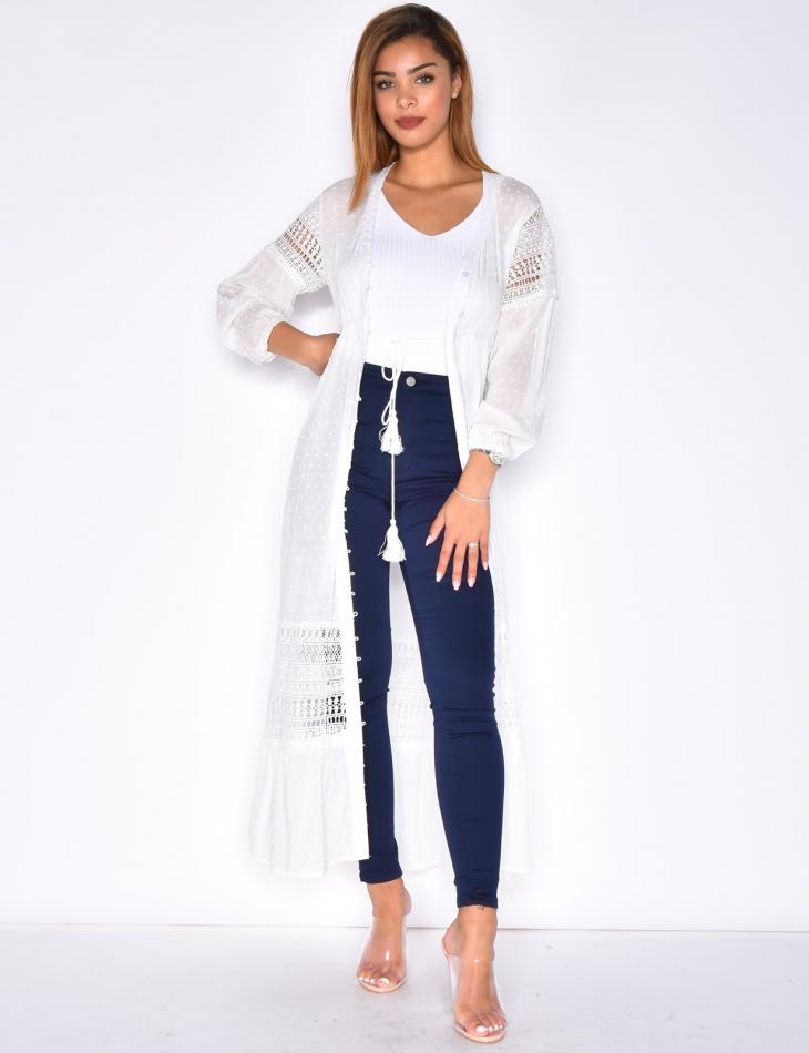 Robe chemise longue à plumetis et pompons