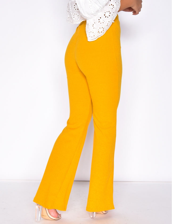Ribbed Bell Bottom Trousers