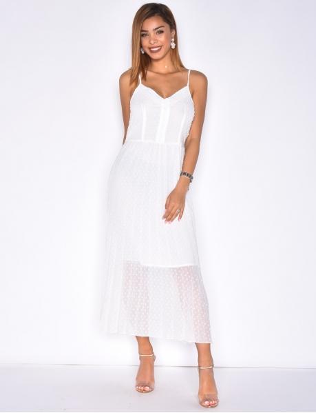Langes Kleid mit Federstickerei