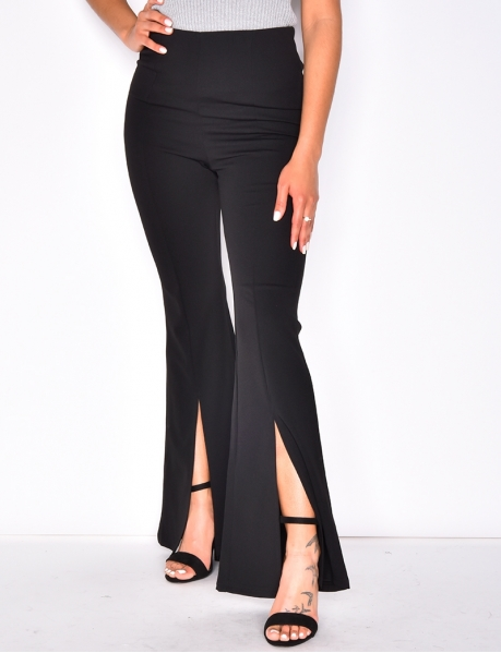 High Waisted Slit Bell Bottom Trousers