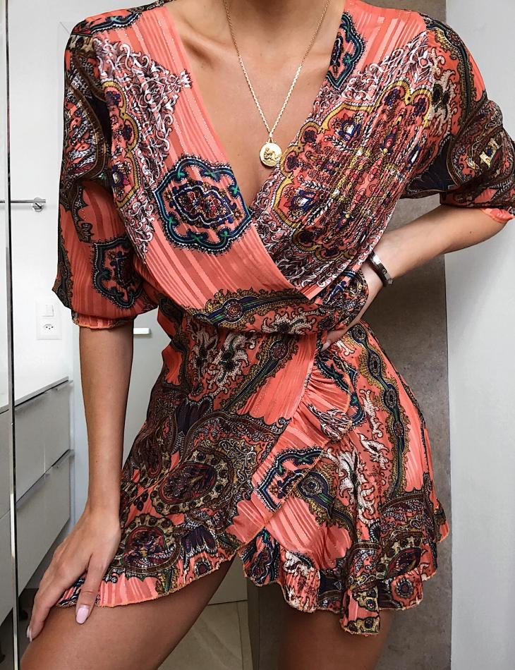 Robe fluide à motifs baroques