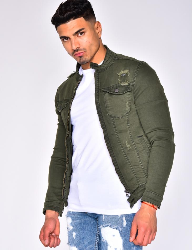 Ripped Khaki Denim Jacket