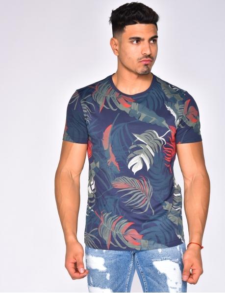T-shirt à motif feuille