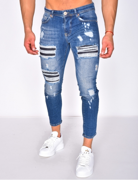 Ripped jeans with lining