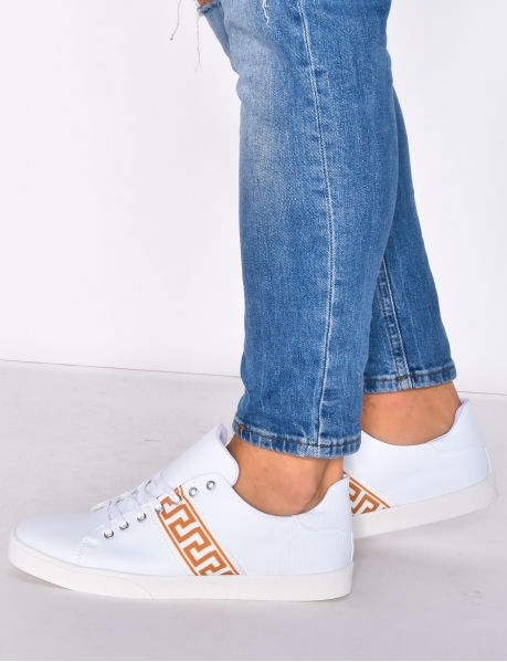 White Trainers with Stripe Pattern