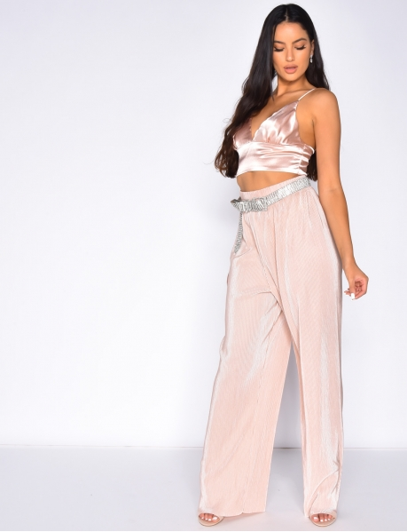 Loose Fit High Waisted Textured Trousers