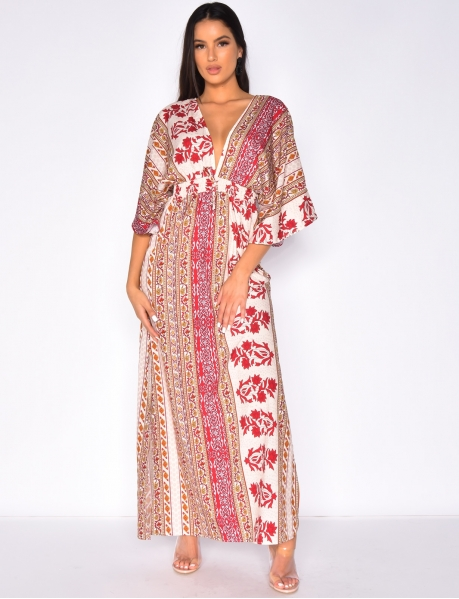 Long Loose Fit Dress with Flower Pattern