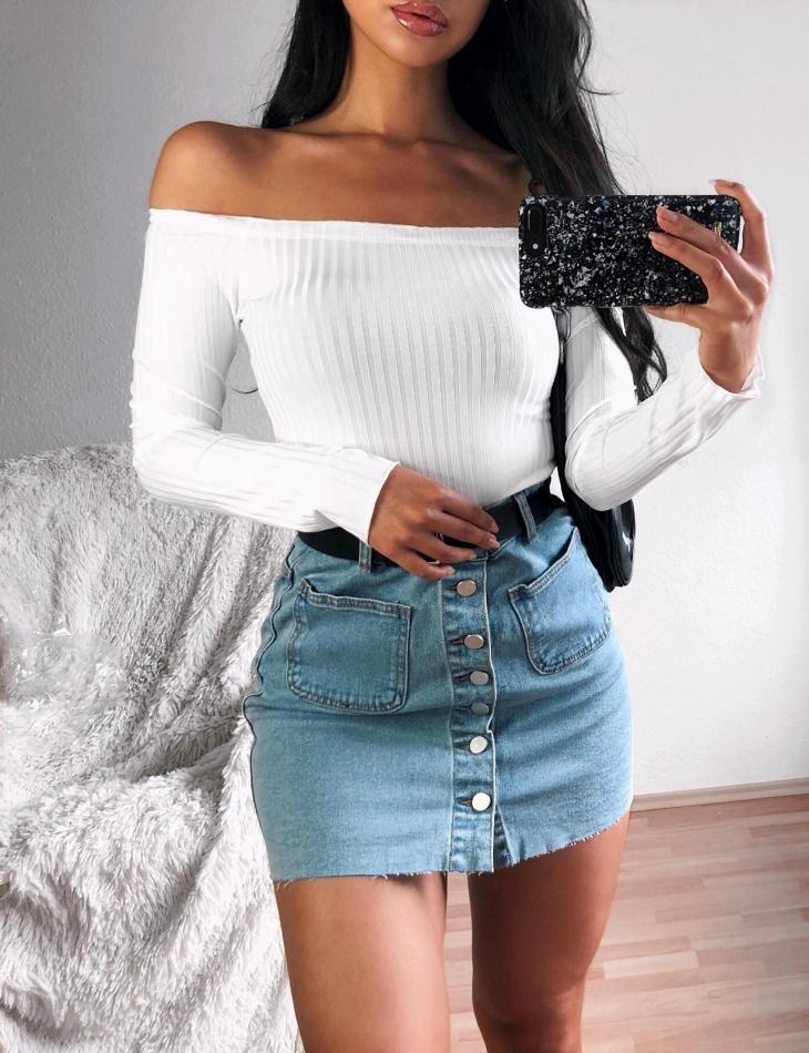 Jupe en jeans à boutons