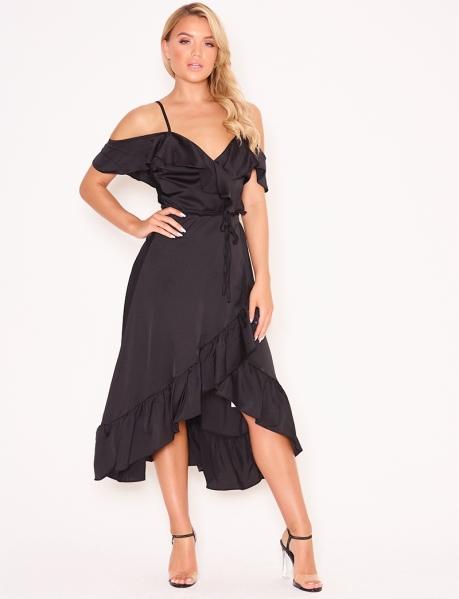 Asymmetrisches, satiniertes Kleid mit Volants, zum Binden