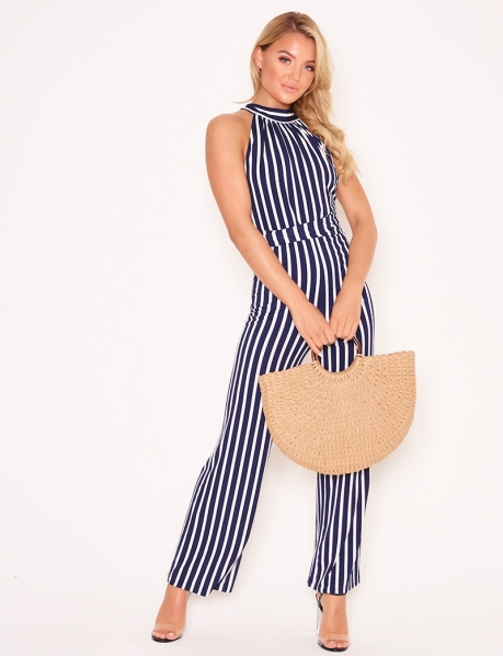 Striped Jumpsuit with Tie Back