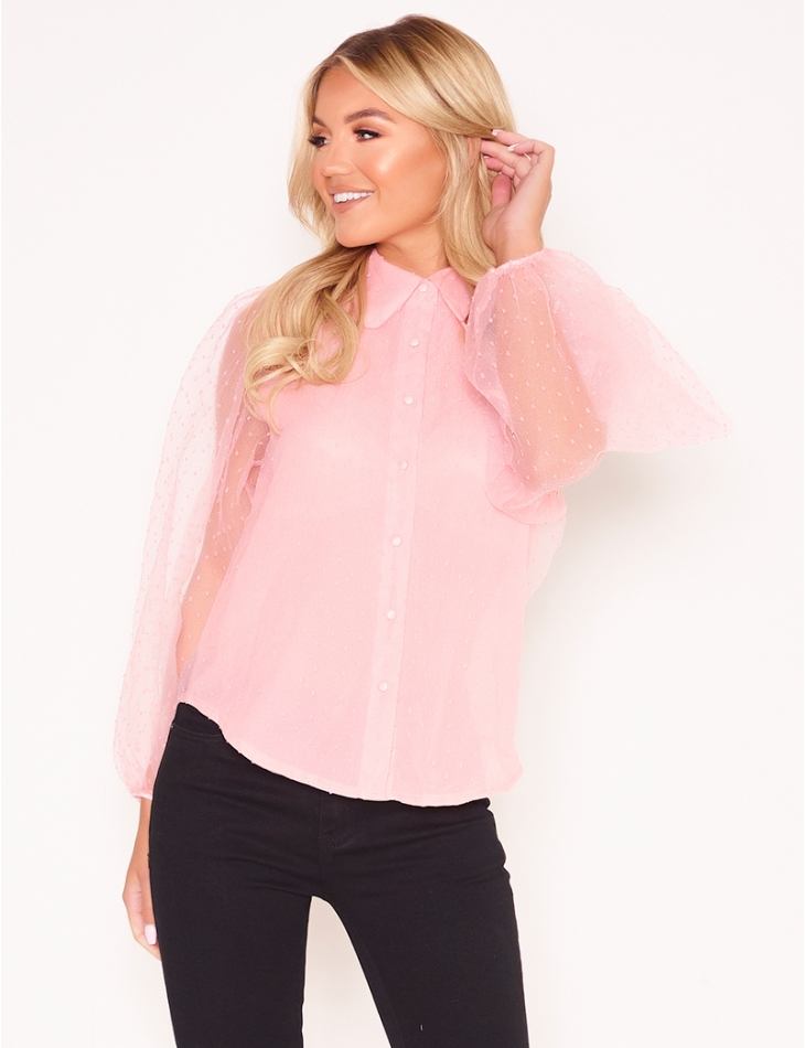 Plumetis Shirt with Puff Sleeves