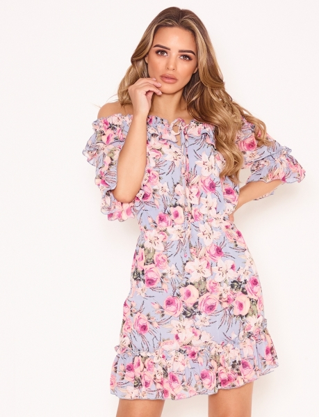 Flowery dress with Bardot collar