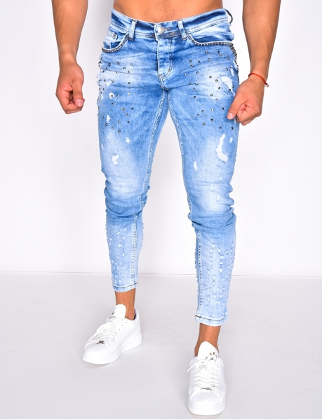 Ripped Studded Jeans