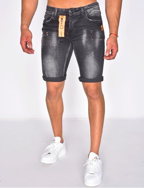 Short en jeans à tâches