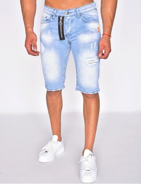 Short en jeans destroy à tâches