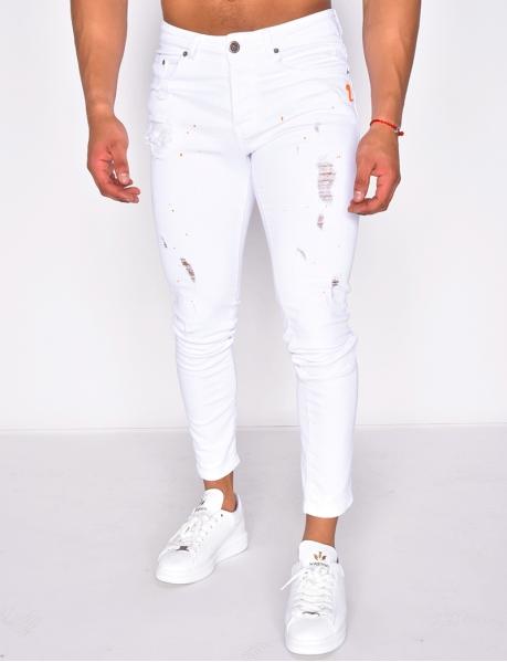 Jeans destroy tâcheté de peinture