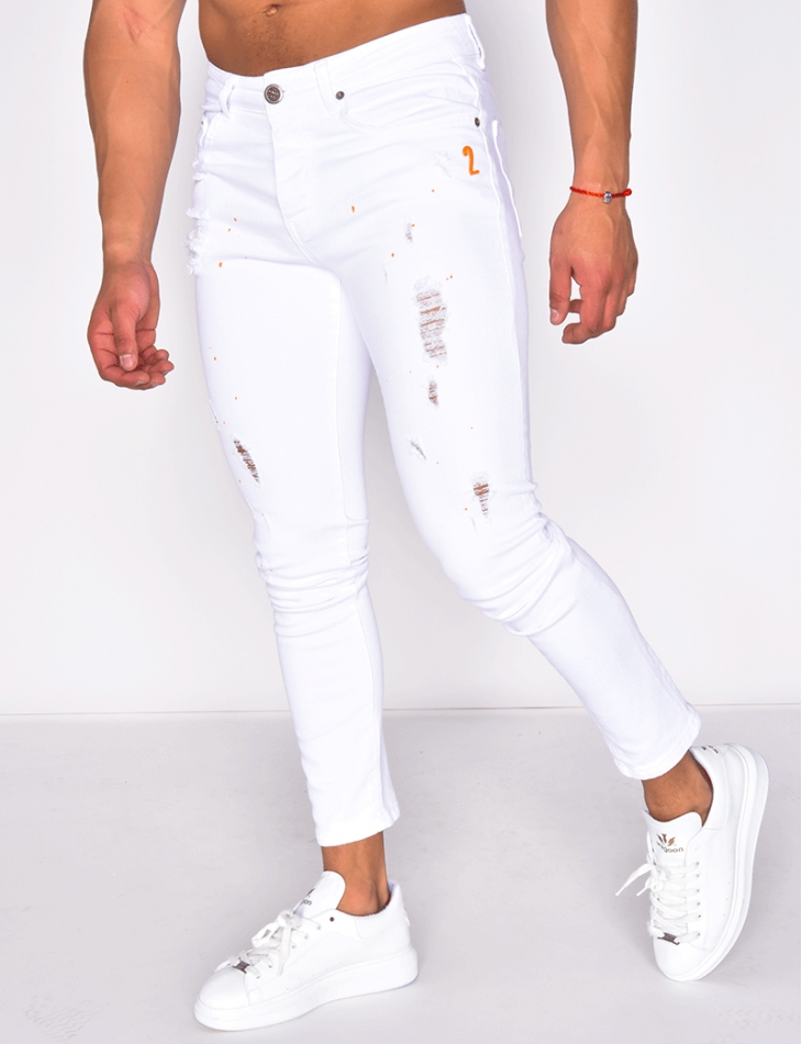 Ripped Jeans with Paint Flecks