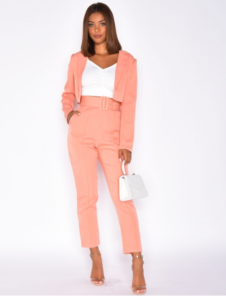 High Waisted Coral Trousers with Belt