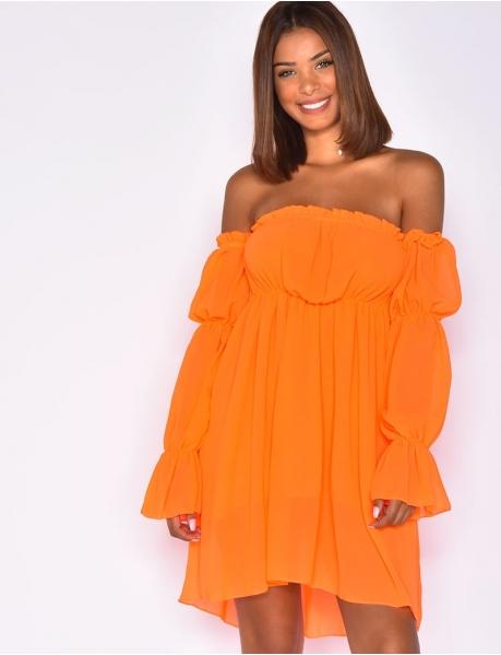 Off-the-Shoulder Voile Dress