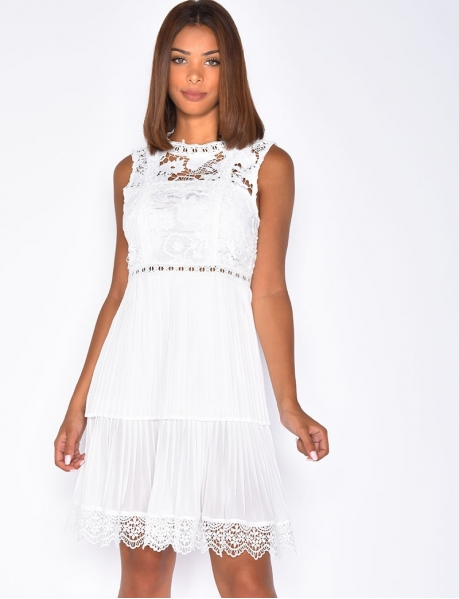 Pleated Dress with Embroidery