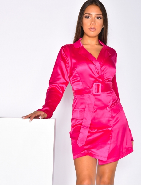 Satin Blazer Dress with Belt