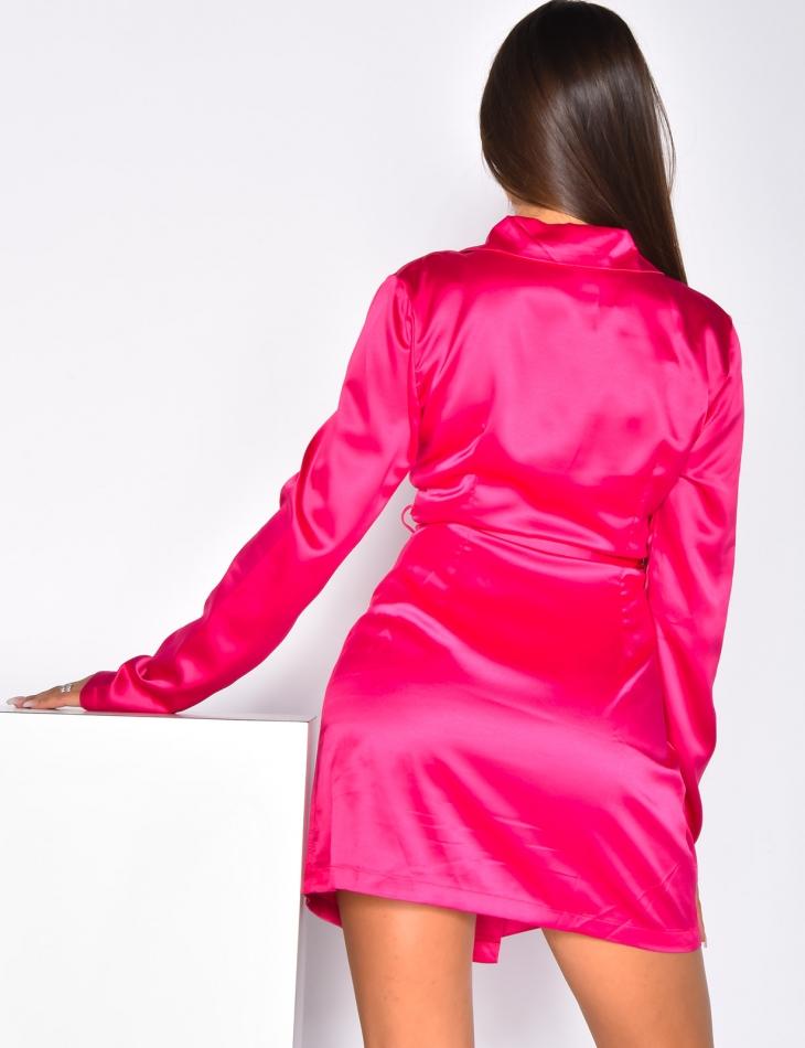 Satin Blazer Dress with Belt