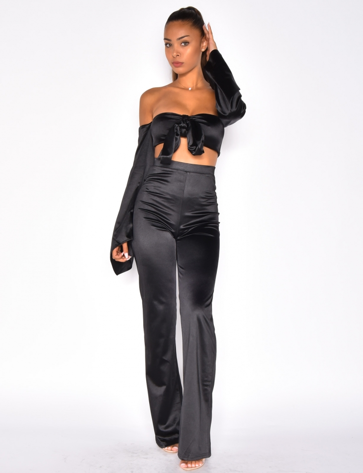 Satin Crop Top and Trousers Co-ord