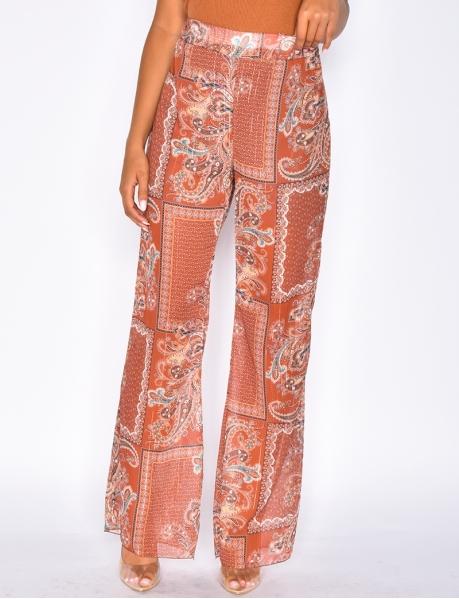 Pantalon fluide à motifs baroque