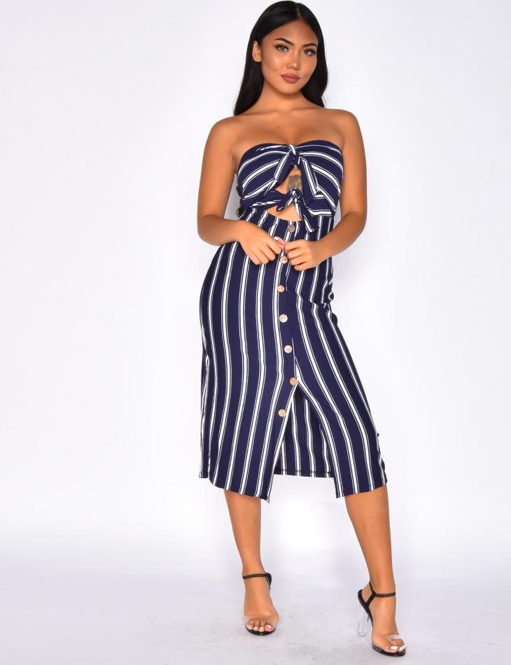 Striped Strapless Dress