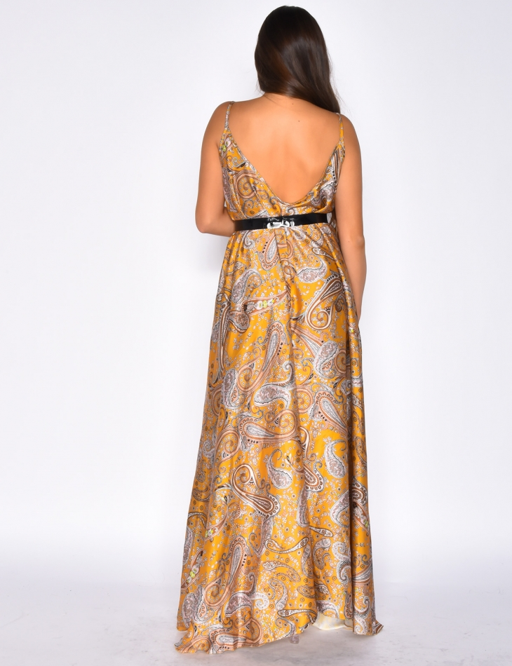 Loose Fit Dress with Flower Pattern