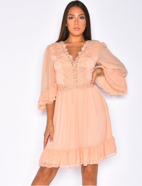 Dress with Ruffles and Embroidery