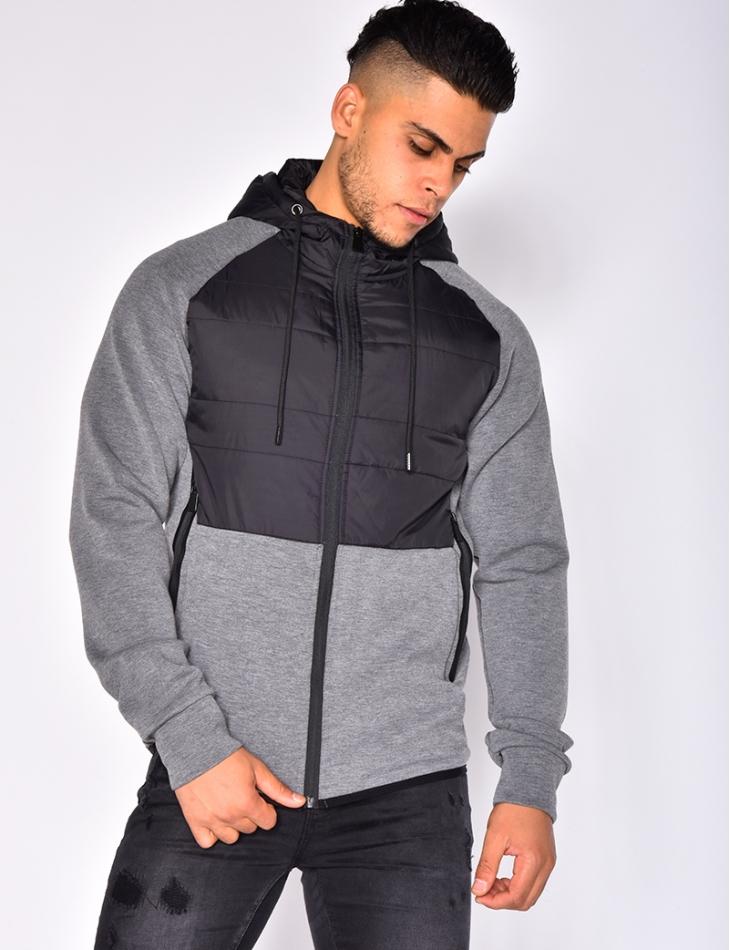 Bi Material Jacket with Hood
