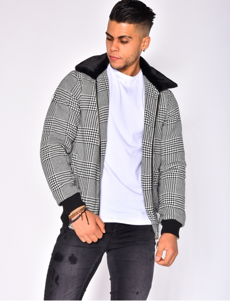 Houndstooth Bomber Jacket with Fur