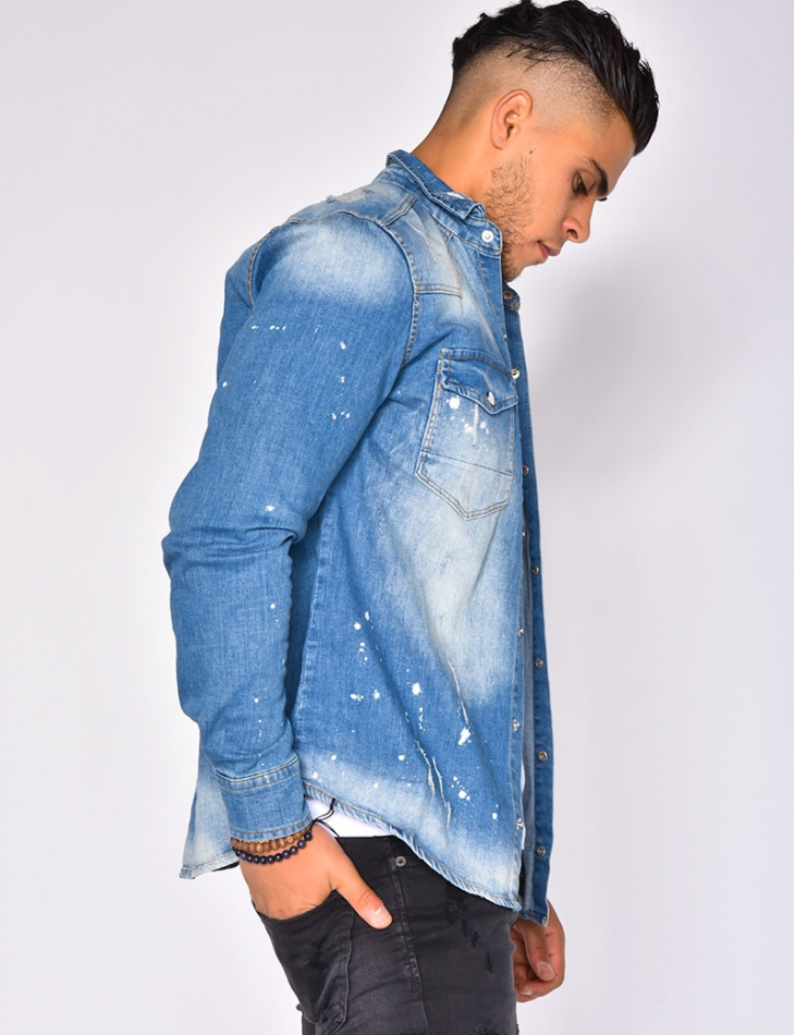 Ripped Denim Shirt with Marks