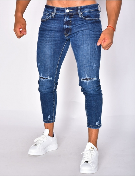 3/4-Length Ripped Jeans