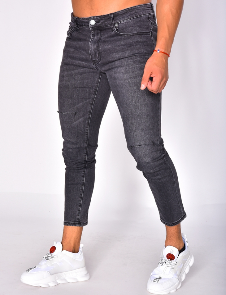 Faded Ripped Grey Jeans